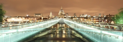 St Pauls and Millennium Bridge in the Rain