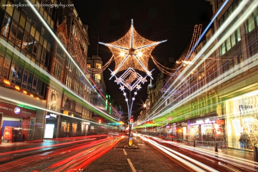 Oxford Street Xmas Lights and Light Trails