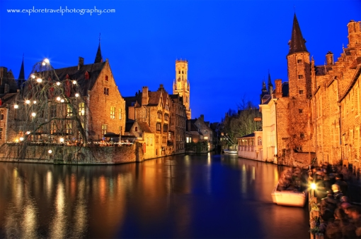 Bruges as night falls